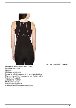Dare 2B Women's Flickered Lightweight Stretch Vest – Black, 16 UK On Sale