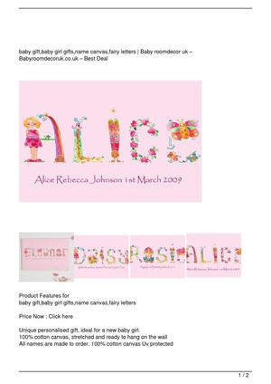 baby gift,baby girl gifts,name canvas,fairy letters On Sale