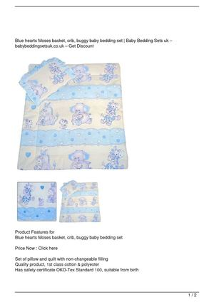 Blue hearts Moses basket, crib, buggy baby bedding set Discount !!