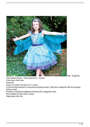 Dragonfly Fairy Deluxe Dress – Kids Costume 6 – 8 years SALE