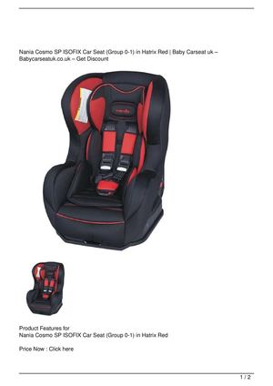 Nania Cosmo SP ISOFIX Car Seat (Group 0-1) in Hatrix Red Discount !!