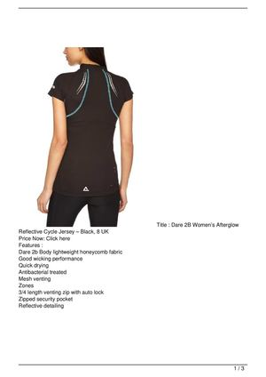 Dare 2B Women's Afterglow Reflective Cycle Jersey – Black, 8 UK Big SALE