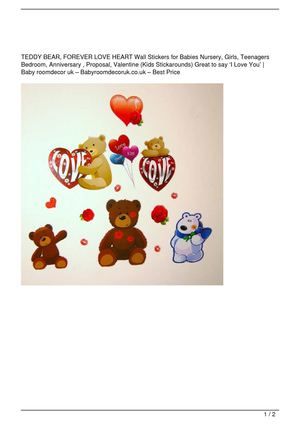 TEDDY BEAR, FOREVER LOVE HEART Wall Stickers for Babies Nursery, Girls, Teenagers Bedroom, Anniversary , Proposal, Valentine (Kids Stickarounds) Great to say 'I Love You' On Sale