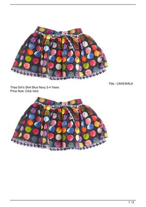 CAKEWALK Thea Girl's Skirt Blue Navy 3-4 Years SALE