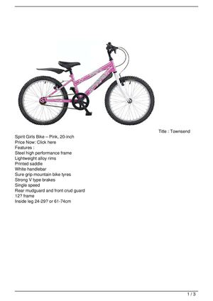 Townsend Spirit Girls Bike – Pink, 20-inch Big Discount
