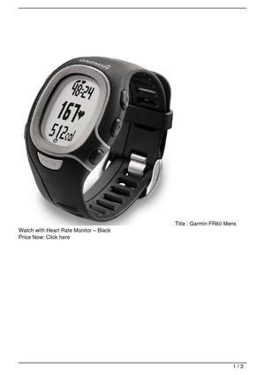 Garmin FR60 Mens Watch with Heart Rate Monitor – Black SALE