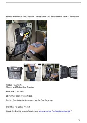 Mummy and Me Car Seat Organiser SALE