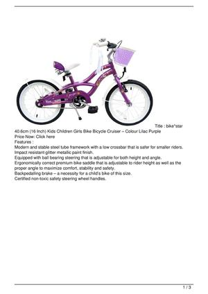 bike*star 40.6cm (16 Inch) Kids Children Girls Bike Bicycle Cruiser – Colour Lilac Purple Promo Offer