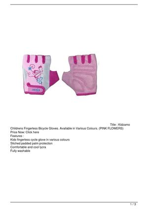 Kidzamo Childrens Fingerless Bicycle Gloves. Available in Various Colours. (PINK FLOWERS) On Sale