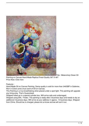 Calaméo - Melancholy Clown Oil Painting on Canvas Hand Made Replica