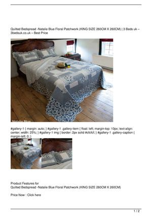 Quilted Bedspread -Natalie Blue Floral Patchwork (KING SIZE 260CM X 260CM) Big SALE