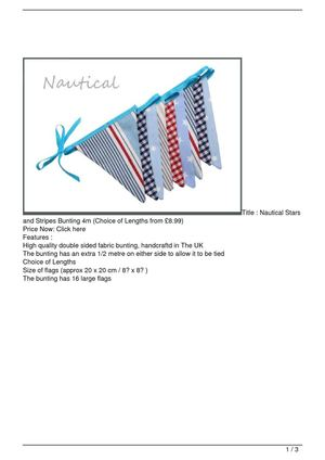 Nautical Stars and Stripes Bunting 4m (Choice of Lengths from £8.99) SALE