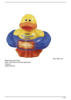 Bath Toy – Splash and Learn Duck On Sale