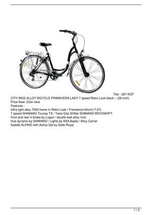 28″ KCP CITY BIKE ALLOY BICYCLE PRIMAVERA LADY 7 speed Retro Look black – (28 inch) Big SALE