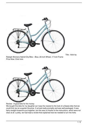 Activ by Raleigh Womens Hybrid City Bike – Blue, 28-inch Wheel, 17 Inch Frame Discount !!