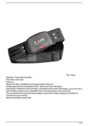 Polar Wearlink+ Transmitter For Nike+ Discount !!