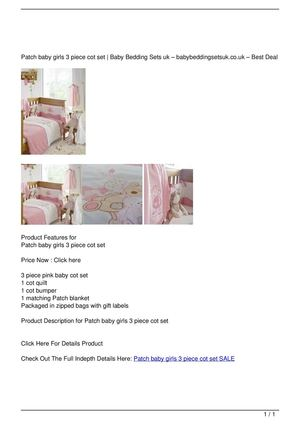 Patch baby girls 3 piece cot set SALE