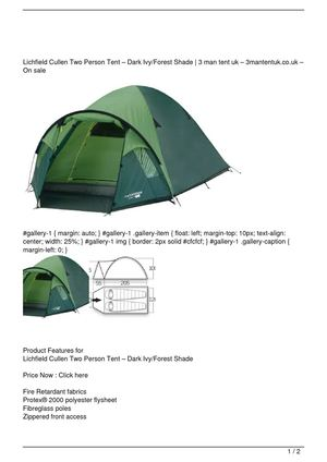 Lichfield Cullen Two Person Tent – Dark Ivy/Forest Shade Big SALE