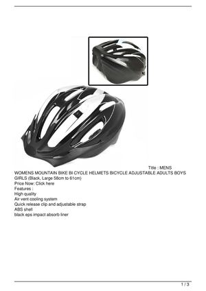 MENS WOMENS MOUNTAIN BIKE BI CYCLE HELMETS BICYCLE ADJUSTABLE ADULTS BOYS GIRLS (Black, Large 58cm to 61cm) SALE