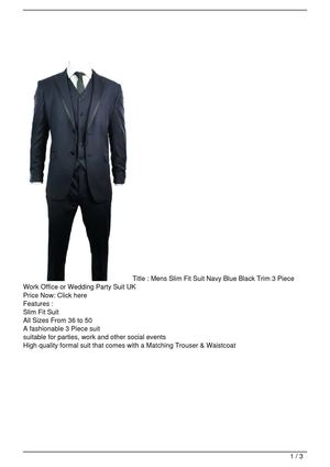 Mens Slim Fit Suit Navy Blue Black Trim 3 Piece Work Office or Wedding Party Suit UK Promo Offer