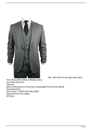 Mens Slim Fit Suit Light Grey Stitch Trim 3 Piece Work Office or Wedding Party On Sale