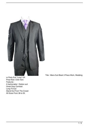 Mens Suit Black 3 Piece Work, Wedding or Party Suit *Long* UK On Sale