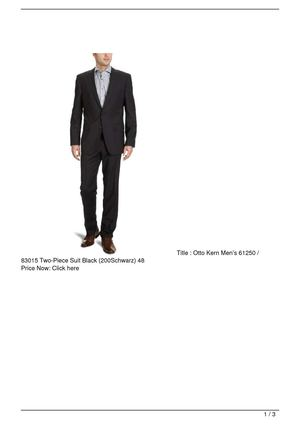 Otto Kern Men's 61250 / 83015 Two-Piece Suit Black (200Schwarz) 48 SALE