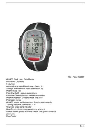 Polar RS300X G1 GPS Black Heart Rate Monitor On Sale