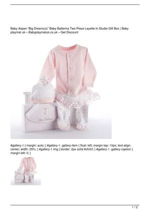 "Baby Aspen ""Big Dreamzzz"" Baby Ballerina Two Piece Layette In Studio Gift Box Big SALE"