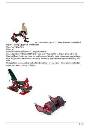 Dosho Multi Gym 5000 Newly Patented Professional Weight Training Equipment for the Home Promo Offer