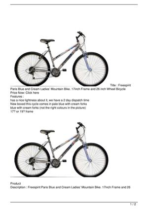 Freespirit Paris Blue and Cream Ladies' Mountain Bike. 17inch Frame and 26 inch Wheel Bicycle SALE