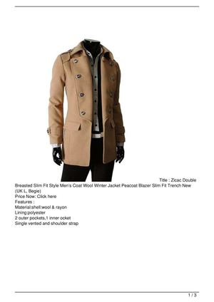 Zicac Double Breasted Slim Fit Style Men's Coat Wool Winter Jacket Peacoat Blazer Slim Fit Trench New (UK L, Begie) Discount !!
