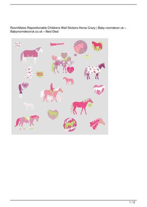 RoomMates Repositionable Childrens Wall Stickers Horse Crazy On Sale