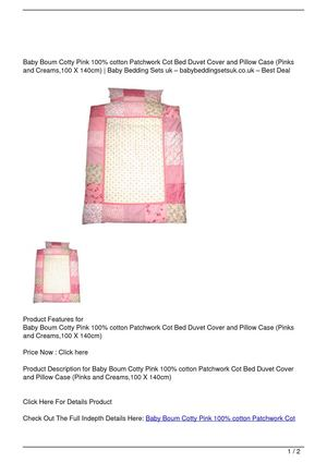 Baby Boum Cotty Pink 100% cotton Patchwork Cot Bed Duvet Cover and Pillow Case (Pinks and Creams,100 X 140cm) Discount !!