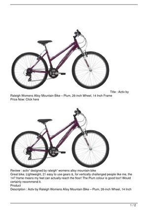 Activ by Raleigh Womens Alloy Mountain Bike – Plum, 26-inch Wheel, 14 Inch Frame Big Discount