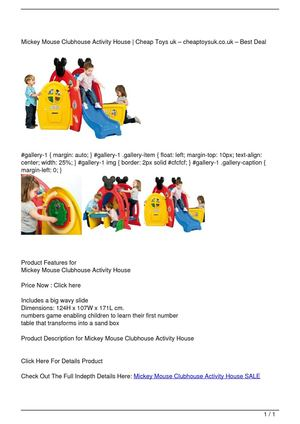Mickey Mouse Clubhouse Activity House SALE