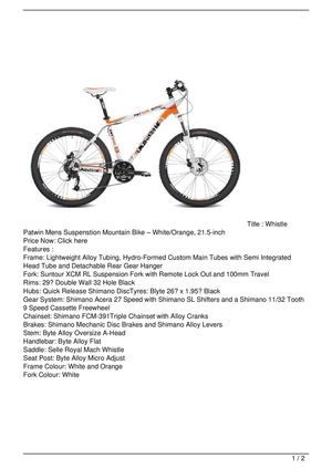 Whistle Patwin Mens Suspenstion Mountain Bike – White/Orange, 21.5-inch On Sale