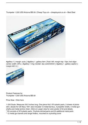 Trumpeter 1:200 USS Arizona BB-39 Promo Offer
