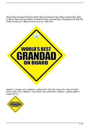 World's Best Grandad On Board, World's Best Grandad Car Sign, Baby on Board Sign, Baby on Board, Decal, Bumper Sticker, Grandad Car Sign, Grandad Sign, Grandparent Car Sign Gift Big Discount