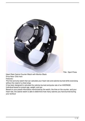 Sport Pulse Heart Rate Calorie Counter Watch with Monitor Black Big Discount