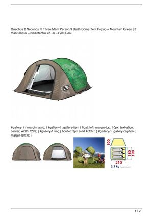 Quechua 2 Seconds III Three Man/ Person 3 Berth Dome Tent Popup – Mountain Green Big SALE