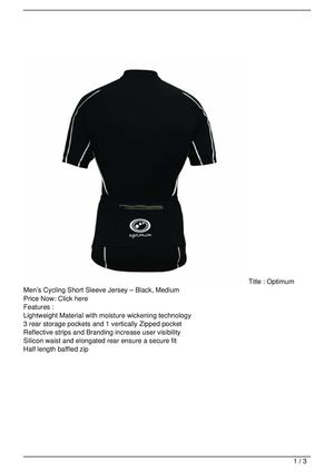 Optimum Men's Cycling Short Sleeve Jersey – Black, Medium Promo Offer