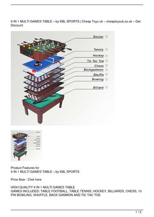 9 IN 1 MULTI GAMES TABLE – by KBL SPORTS Get Rabate