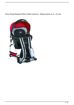 Chicco Caddy Backpack (Race) Discount !!