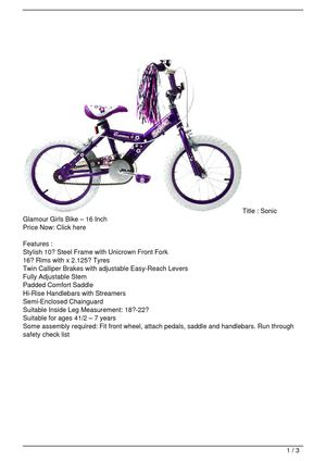 Sonic Glamour Girls Bike – 16 Inch Discount !!