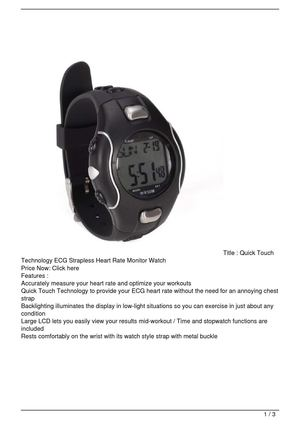 Quick Touch Technology ECG Strapless Heart Rate Monitor Watch On Sale