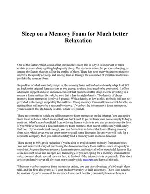 Sleep on a Memory Foam for Much better  Relaxation