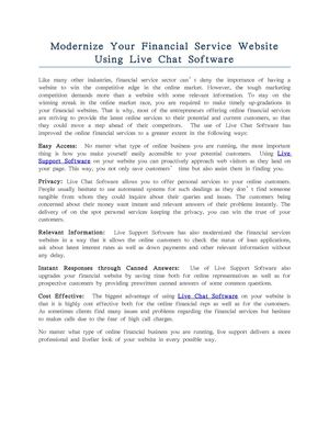 Modernize Your Financial Service Website Using Live Chat Software