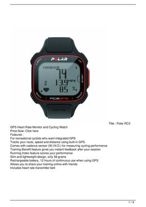 Polar RC3 GPS Heart Rate Monitor and Cycling Watch Big Discount