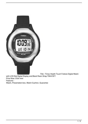 Timex Health Touch Fullsize Digital Watch with LCD Dial Digital Display and Black Resin Strap T5K470F7 On Sale